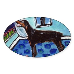 DOBERMAN PINSCHER art Oval Decal