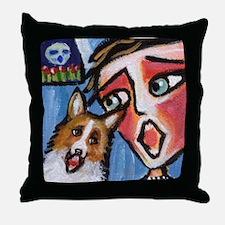 Welsh Corgi moon singer Throw Pillow