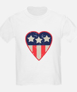 Simple Patriotic Heart Kids T-Shirt