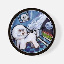 Bichon Frise cs moon Wall Clock