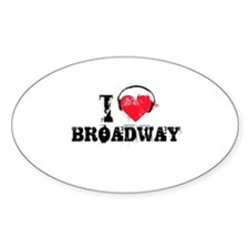 I love broadway Oval Decal