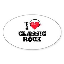 I love classic rock Oval Decal