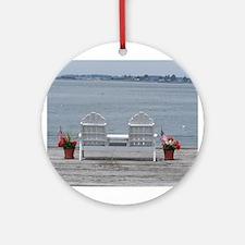 Maine Coastal Dock View Ornament (Round)