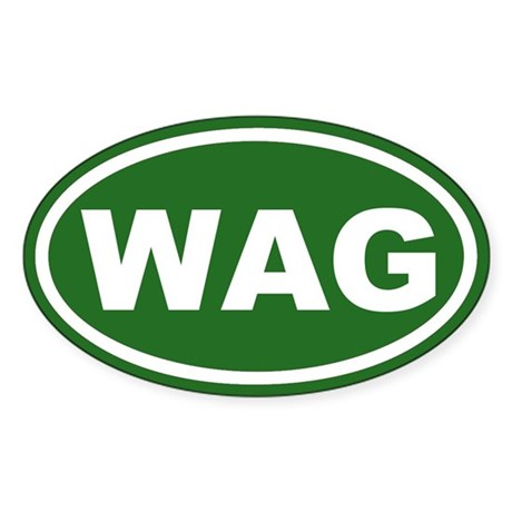 WAG the Dog Green Euro Oval Sticker