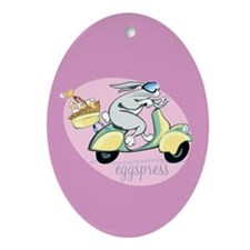 Scooter Bunny Eggspress Oval Ornament