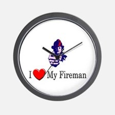 I Love My Fireman Wall Clock