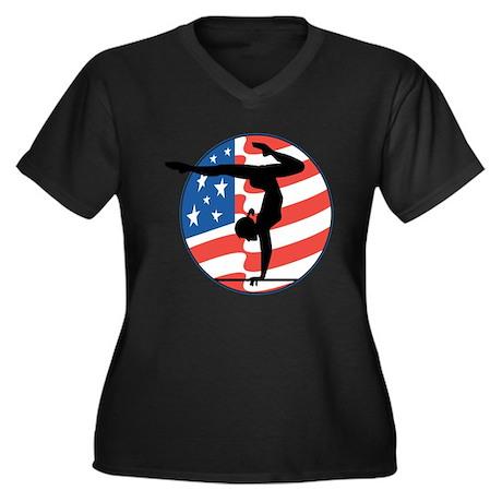 U.S.A Gymnastics Women's Plus Size V-Neck Dark T-S