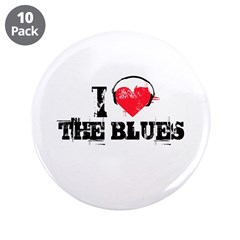 """I love the blues 3.5"""" Button (10 pack)"""