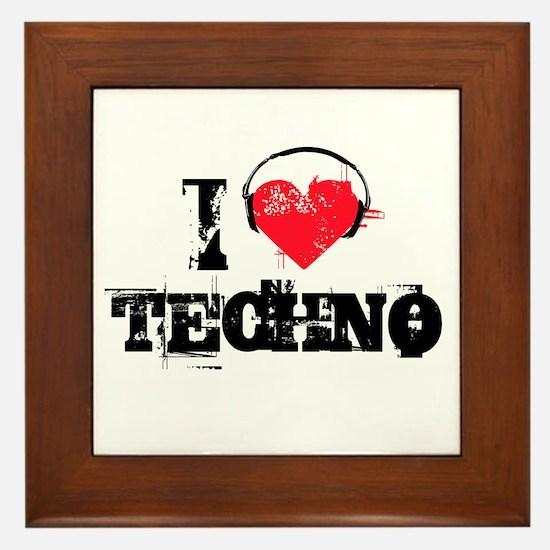 I love techno Framed Tile