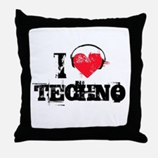 I love techno Throw Pillow