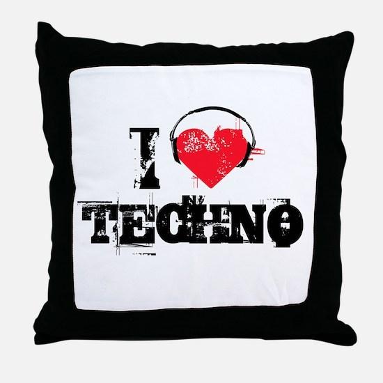 I love techno Throw Pillow