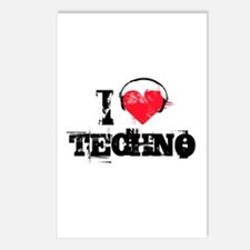 I love techno Postcards (Package of 8)