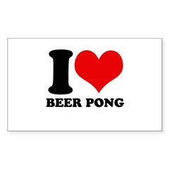 I love beer pong Rectangle Decal