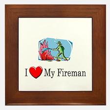 I Love My Fireman Framed Tile