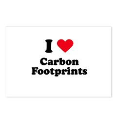 I love carbon footprints Postcards (Package of 8)
