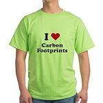 I love carbon footprints Green T-Shirt