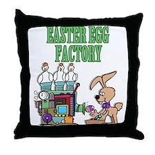 Easter Egg factory Throw Pillow