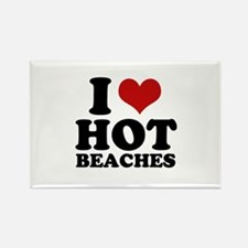 I love hot beaches Rectangle Magnet