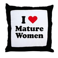 I love mature women Throw Pillow