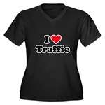 I love traffic Women's Plus Size V-Neck Dark T-Shi