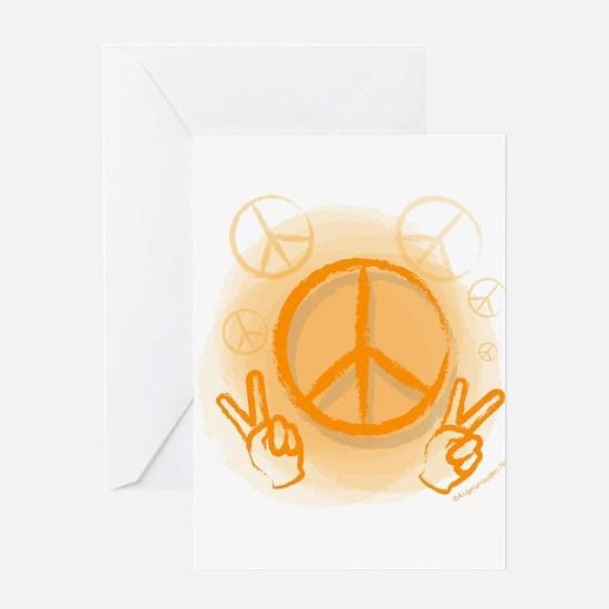 Peace Symbol & V-Sign Color Greeting Card