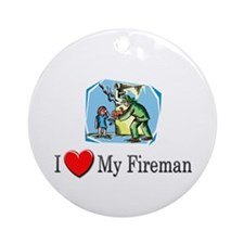 I Love My Fireman Ornament (Round)