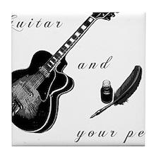 Guitar and Pen Tile Coaster