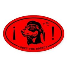 Obey the Doxie! Icon Oval Decal