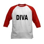Diva (Front) Kids Baseball Jersey
