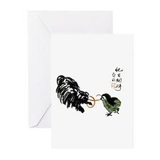 Japanese style Silk Print Pul Greeting Cards (Pk o