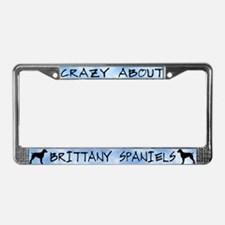 Crazy About Brittany Spaniels License Plate Frame