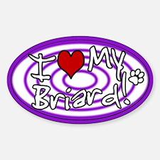 Hypno I Love My Briard Oval Sticker Purple