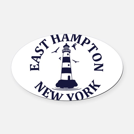 Summer East Hampton- New York Oval Car Magnet