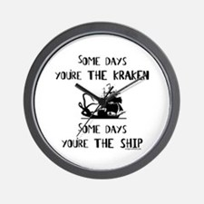 Some days the kraken, some days the ship Wall Cloc