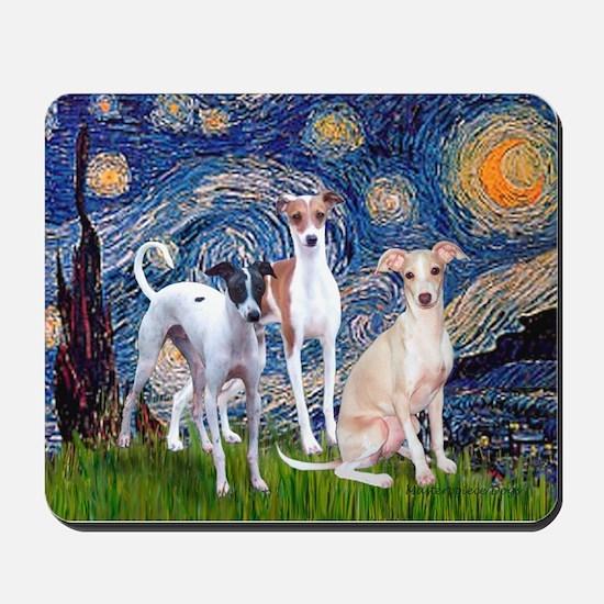 Starry Night / Ital Greyhound Mousepad