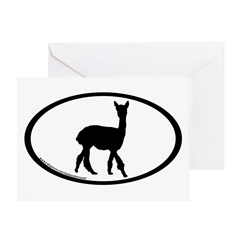 walking alpaca oval Greeting Card