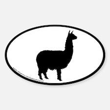 alpaca oval (black border) Oval Decal