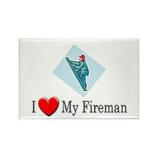 I Love My Fireman Rectangle Magnet