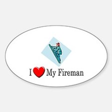 I Love My Fireman Oval Decal