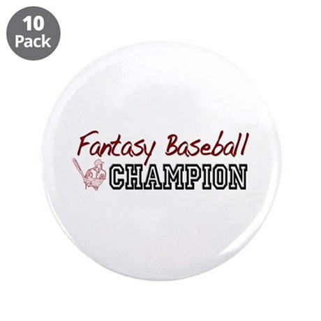 "Fantasy Baseball Champion 3.5"" Button (10 pack)"