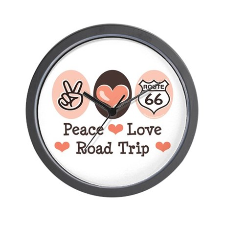 Peace Love Route 66 Road Trip Wall Clock