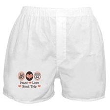 Peace Love Route 66 Road Trip Boxer Shorts