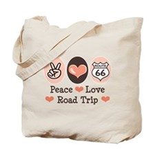 Peace Love Route 66 Road Trip Tote Bag
