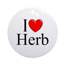 """I Love (Heart) Herb"" Ornament (Round)"