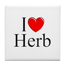 """I Love (Heart) Herb"" Tile Coaster"