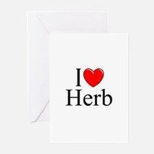 """""""I Love (Heart) Herb"""" Greeting Cards (Pk of 10)"""
