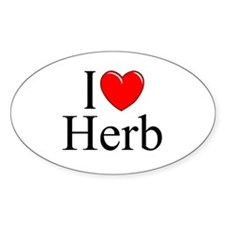 """I Love (Heart) Herb"" Oval Decal"