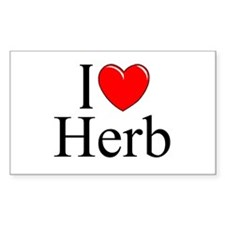 """I Love (Heart) Herb"" Rectangle Decal"