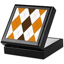 Orange and Brown Argyle Keepsake Box