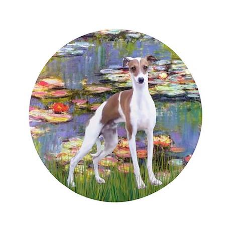 "Lilies2/Italian Greyhound 3.5"" Button"